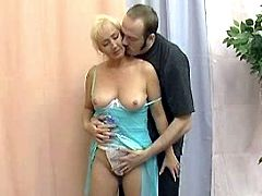 Guy seduces granny in skimpy outfit