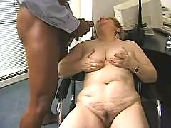Old lady gets cummy tits