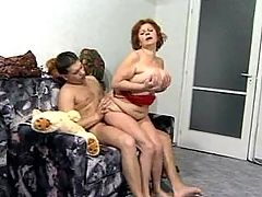 Busty mom fucks on floor