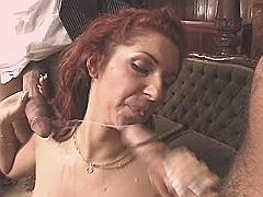 Mature gets facials after gangbang