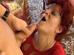 Redhead grandma gets cum on face