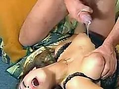 Mature gets cum on breast