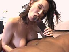Brunette milf sucks big black cock