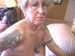 Depraved granny enjoys big sextoys