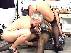 Man in stockings fucks w two moms