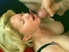 Chesty mature gets facial