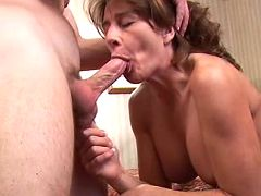 Sexy busty mom polishes big sausage