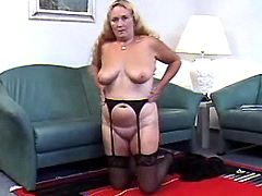 Old fat granny masturbates on sofa