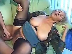 Hot stud fucks old granny
