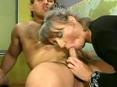 Two old whores gangbang