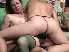 Depraved aged women in kinky orgy
