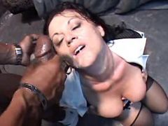 Aged maid gets facial by black guys