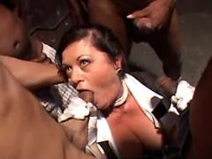 Old maid sucks numerous black cocks