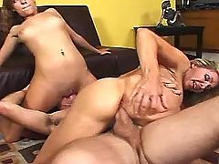 Brunette mom has fun with two men