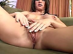 Brunette masturbates and gets muff diving