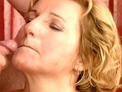 Chubby milf licks out cum from cock
