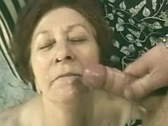 Old lady gets facial after hardcore